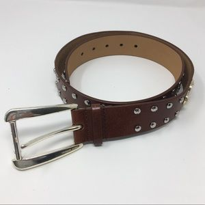 MICHAEL KORS Studded Leather Brown Belt
